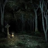 Nacht im dunklen Wald