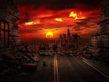 Photo for Apocalyptic scenery with ruins of a city - Royalty Free Image