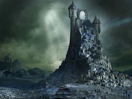 Photo pour Paysage sombre portail magique et montagne - image libre de droit