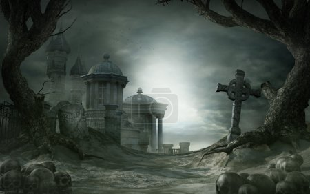 Gothic scenery with old cementery and shrine...