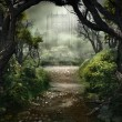 Dark scenery with forest road and castle...