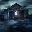 Gothic scenery with old cementery and crypt...