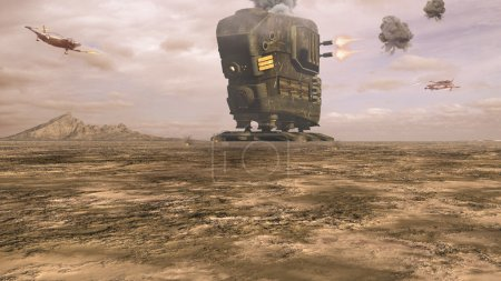 Photo pour Paysages de bataille de science-fiction dans le désert - image libre de droit