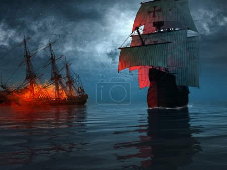Old ship sailing near a blazing wreck...