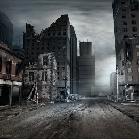 Photo pour Post apocalyptic scene with city street - image libre de droit