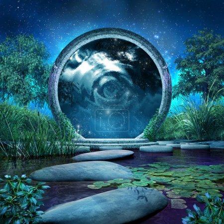 Photo pour Scène de fantaisie avec le portail magique et lac bleu - image libre de droit