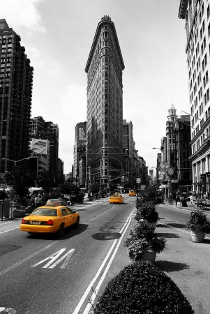 Flat Iron Building, new york city usa.Black and white photo