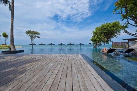 Swimming pool terrace in resort