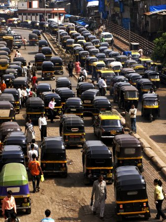Crowd and traffic jam