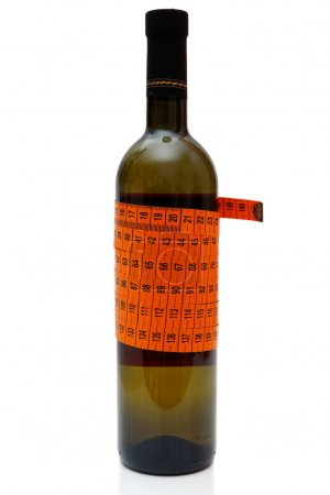 Concept of less drinking with wine bottle and measuring tape