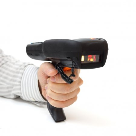 Man hold bar code scanner and scans with laser