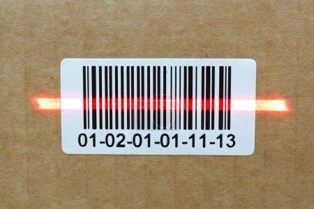 bar code with laser on carton box