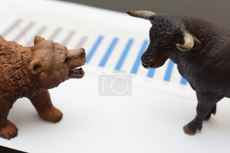Photo for Stock trading with bull and bear - Royalty Free Image
