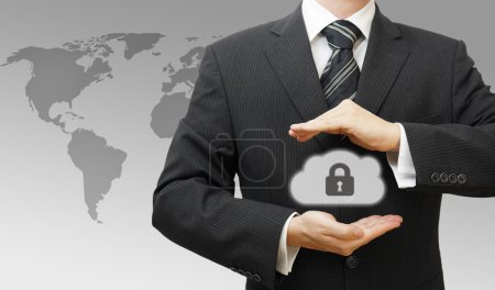 Secured Online Cloud Computing Concept with Business Man protect