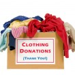 Box of clothes ready for donating. Isolated on whi...