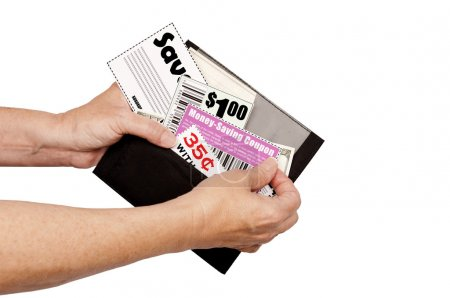 Pulling Coupons Out of Wallet