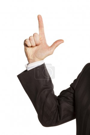Photo pour Main masculine forte de l'homme d'affaires montrant la direction vers le haut - image libre de droit