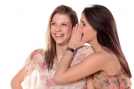 Photo for Two teenage girls gossiping and laughing - Royalty Free Image