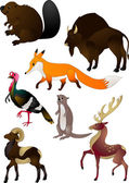Cartoon mammals & bird Vector illustration