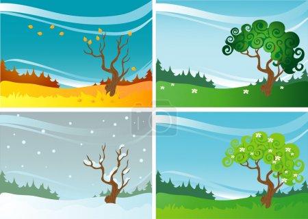 Illustration pour Illustration vectorielle - paysages quatre saisons - image libre de droit
