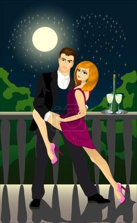 Romantic evening. A couple dancing tango
