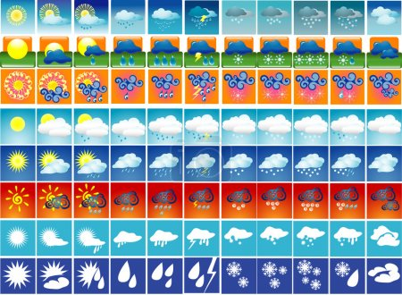 Illustration for Some groups of weather icons. Vector illustration - Royalty Free Image