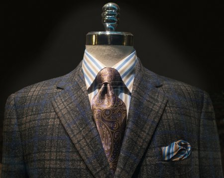 Checkered Jacket with Striped Shirt and Tie (Horizontal)