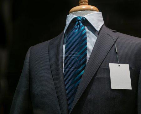 Dark Gray Striped Jacket With A Blank Tag (Horizontal)