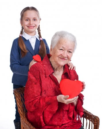 Granddaughter and grandmother with hearts