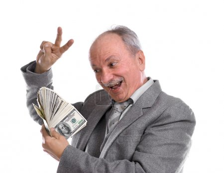 Photo for Happy old man with money on a white background - Royalty Free Image