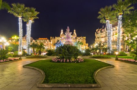 Photo for Christmas tree in front of the palace of casino of Monaco at dusk, Montecarlo, France - Royalty Free Image