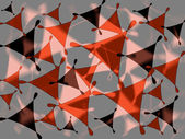Modern geometric abstract design on blurred grey and pink background