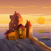 Castle on the coast at sunset