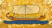 "Постер, картина, фотообои ""Египетский папирус лодка фреска"""