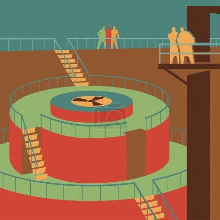 Illustration pour Regarder le réacteur à la centrale nucléaire illustration rétro-vectorielle - image libre de droit