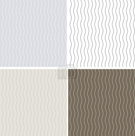 Illustration for Set of 4 seamless patterns with curvy lines - Royalty Free Image