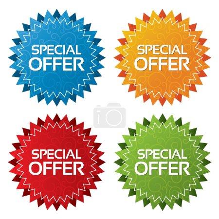 Foto de Oferta coloridas etiquetas con colección de texturas. conjunto de iconos. oferta especial ilustración etiquetas (azul, verde, rojo, naranja). - Imagen libre de derechos