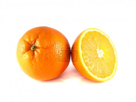 Photo for Ripe orange with sliced half isolated on white background. Fresh diet citrus fruit (health). Healthy fruit with vitamins. - Royalty Free Image