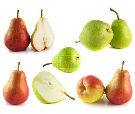 Pears collection isolated on white background
