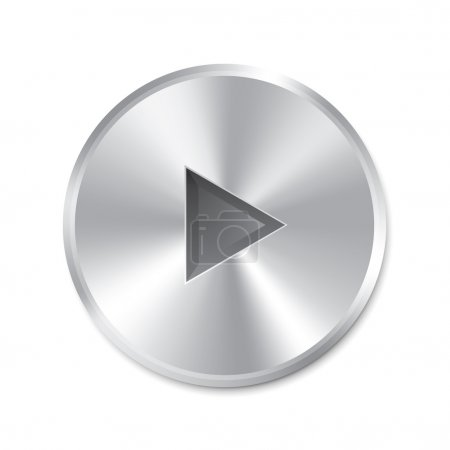 Photo for Realistic metallic Play Button (round). Isolated on white background. Illustration. - Royalty Free Image