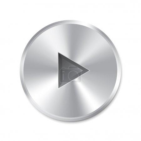 Photo pour Bouton de jeu métallique réaliste (rond). isolé sur fond blanc. illustration. - image libre de droit