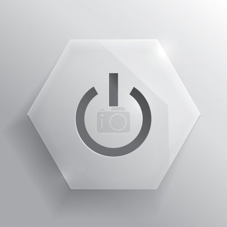 Photo for Glass button. Power button. Iillustration. Realistic icon. - Royalty Free Image