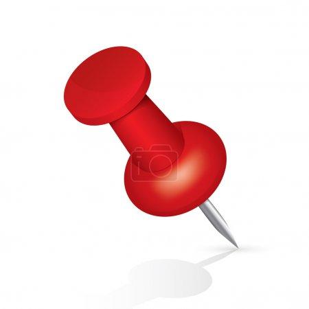 Foto de Icono de la chincheta roja aislado sobre fondo blanco. objeto de PIN. Ilustración. - Imagen libre de derechos