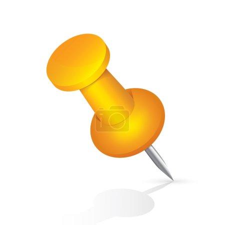 Foto de Icono de la chincheta naranja aislado sobre fondo blanco. objeto de PIN. Ilustración. - Imagen libre de derechos