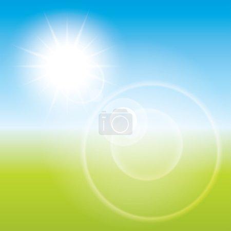Summer sun lens flare background. Landscape blur.