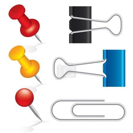 Foto de Coloridos marcadores, clips de papel, clips de carpeta, conjunto de iconos de pin. aislado sobre fondo blanco. Ilustración. - Imagen libre de derechos