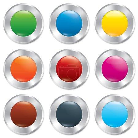 Photo pour Jeu de modèles de boutons métalliques. Stickers ronds. Icônes réalistes. Isolé sur fond blanc. Modèles colorés pour l'application . - image libre de droit
