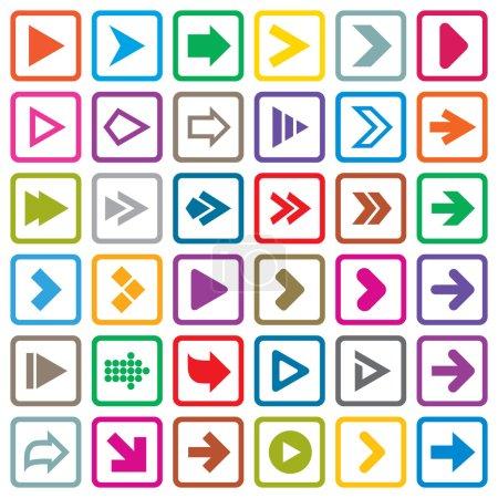 Photo pour Icône du panneau fléché. Boutons Internet de forme simple sur blanc. Icônes plates pour applications Web et mobiles. 36 boutons élégants . - image libre de droit