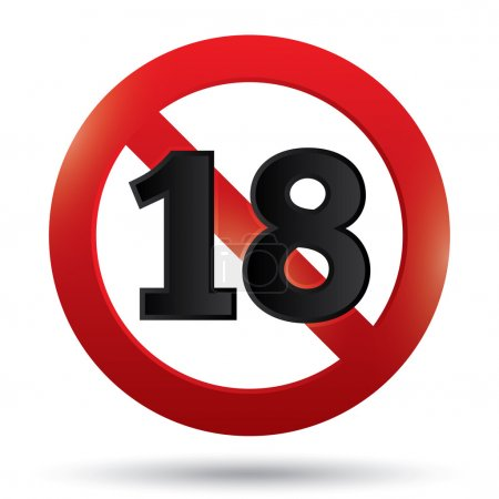 Photo for Adults only content sign. XXX sticker. Age limit icon. Prohibition sign. Under eighteen sign isolated on white. Eps 10. - Royalty Free Image