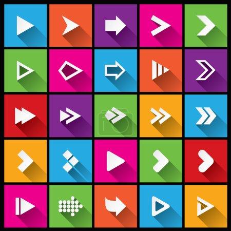 Photo pour Icône du panneau fléché. Boutons carrés simples. Icônes plates pour application Web et mobile. 25 boutons de style métro. Coupé à partir de papier . - image libre de droit